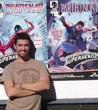 Williams poses next to a poster of comic book cover outside of a comic store in LA. (Photo: Dan Williams)