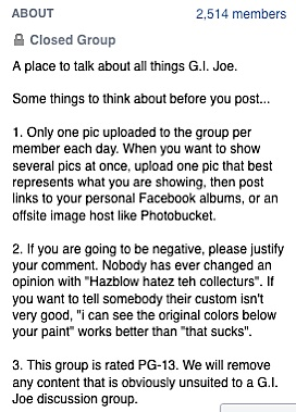 "This screenshot of the GIjOE Discussion group's rules clearly spell out their disdain for ""Hazblow"" or terms of a similar nature. Unfortunately for Otnes, this information was unknown to him at the time of his post."