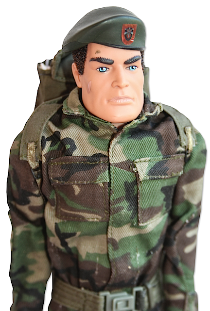 "The Hunchback of GIjOE Fame. The prototype remote-controlled Army Joe (utilizing an Action Man head) seems somewhat hunch-backed due to the hefty size and weight of his electronics-filled backpack. ""Esméralda!"" (Photo: NDSA)"