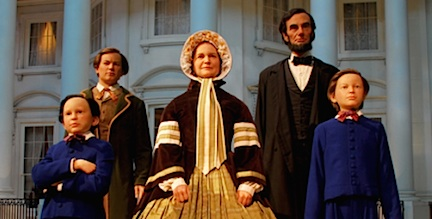 Stunning waxwork figures of Lincoln and his family wait to greet guests and pose for a photo-op in front of a replica of the White House built inside the ALPM museum in Springfield, IL. Amazing! (Photo: ALPM)
