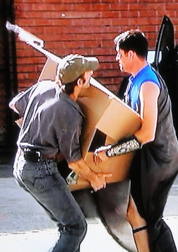 Williams was the only contestant to offer to help the delivery man carry the boxes, a keen move that helped Parthenon's standing in Lee's eyes. (Photo: Syfy)