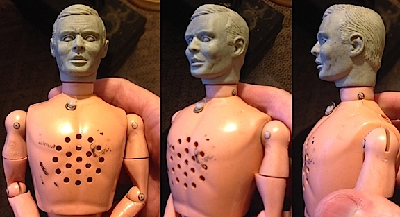 Test-fitting the headsculpt to a vintage talker body. (Photo: Bill Lawrence)