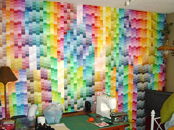 "Dan's ""Paint Squares Room"" is a perfect example of his ""Extreme Theme"" style of decorating. Careful! You may need to squint to enter. HA (Photo: Dan Williams)"