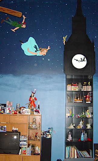 Dan William's handcrafted this massive Peter Pan clock tower curio case with working clock and hand-painted starry background. WOW! (Photo: Dan Williams)