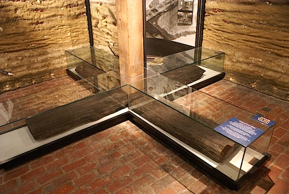 The original cross-brace that once supported the Star-Spangled Banner was found buried in its original position and is now on display in one of the rooms at the fort. Don't miss it! (Photo: George Price)