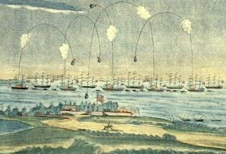 This vintage rendering of the Battle of Baltimore depicts the high lobbing of explosive shells bursting above the forts defenders, raining white-hot shrapnel down upon them. (Photo: wikipedia)