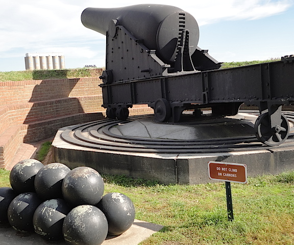 You'd Better Back Off, Dude. This closeup of one of the fort's guns reveals it packed a serious punch. Look at the size of those cannonballs! (Photo: Mark Otnes)