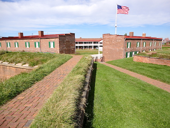 Walking the ramparts of the fort is a pentagonal pleasure! Most are overgrown with neatly trimmed grass and paved with gravel footpaths. From every point on the fort, you can see the flag flying proudly. (Photo: Mark Otnes)