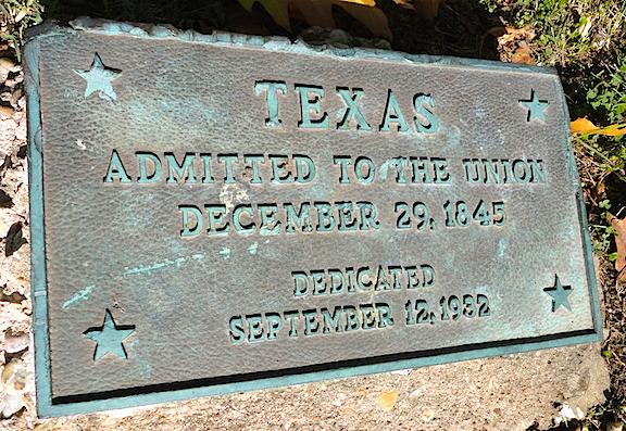 Along the drive leading up to the fort's visitor center, each state has a plaque with the date it was admitted to the Union. I had to take a pic of the one for Texas, 'natch! (Photo: Mark Otnes)