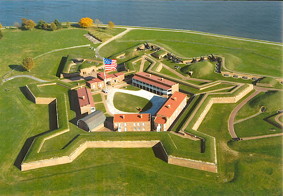 O'er the Ramparts We Watched! As seen from above, the pentagonal shaped Ft. McHenry is surrounded by star-shaped ramparts where cannons and sharp-shooters were positioned. (Photo: wloy.org)