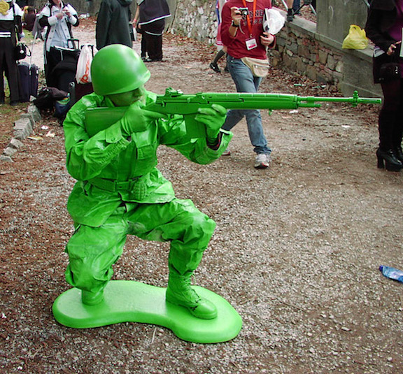 "Too grown up to play with toys? Why not become one? Yes, the popularity of the Little Green Army Men has even reached fans of Cosplay, or ""costumed play."" Yes, that's a REAL person you're looking at, dressed up as a sharp-shooter. Unbelievable! (Photo: like cool)"