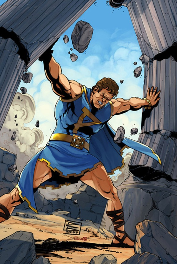 "Go, Parthenon! This closeup of the prototype cover for issue #1 of a Parthenon comic book featured a decidedly ""buff"" superhero utilizing his super-strength to topple a Greek temple. (Art: Dark Horse Comics)"