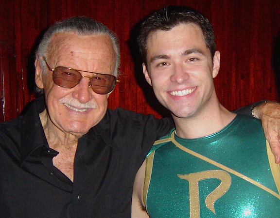 "Dan Williams (right) aka ""Parthenon,"" poses with comics legend, Stan Lee, during a recent ""Comicaze"" convention in California, to celebrate a (partial) cast reunion of the Syfy Channel's hit reality-TV series, ""Who Wants to Be a Superhero?"" A 3rd Season was NOT announced—again. (Photo: Dan Williams)"