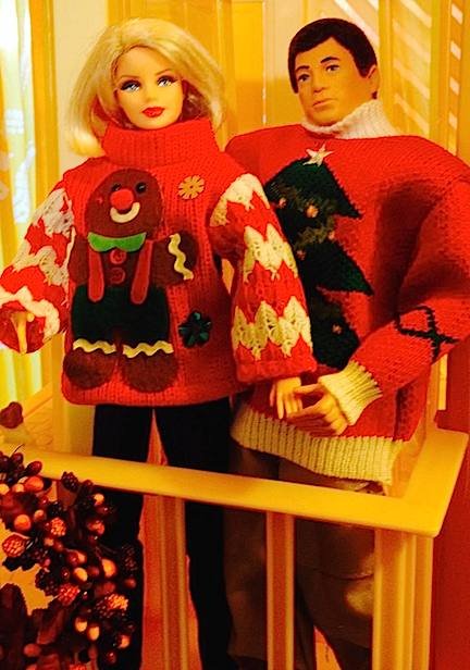 Looks like Joe and Barbie have put on a few pounds this holiday season. Either that, or their new sweaters from Target are just a tad too big. Call the tailor! (Photo: Laura Ann Ostermeyer)
