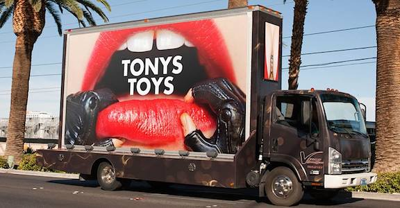 Marketing on the Move! Clearly, Kelly knows how to increase public awareness of his new book: hire a billboard truck and drive all over Hollywood! (Photo: Tony Kelly)