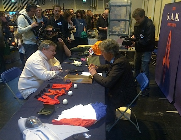 Daniel Smart Handing Over Steve to James May at Birmingham NEC Toy Fair April 20th 2013