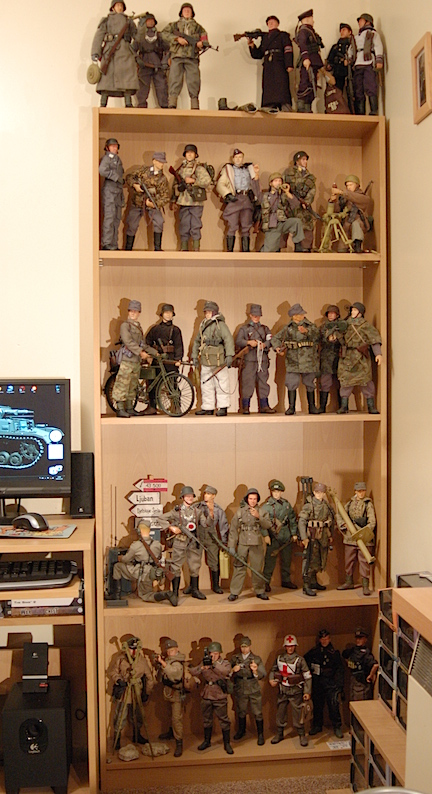 Standard (adjustable) wooden shelves work just fine to display a number of Borecki's 1:6 scale action figures. What a great display! (Photo: Grzegorz Borecki)
