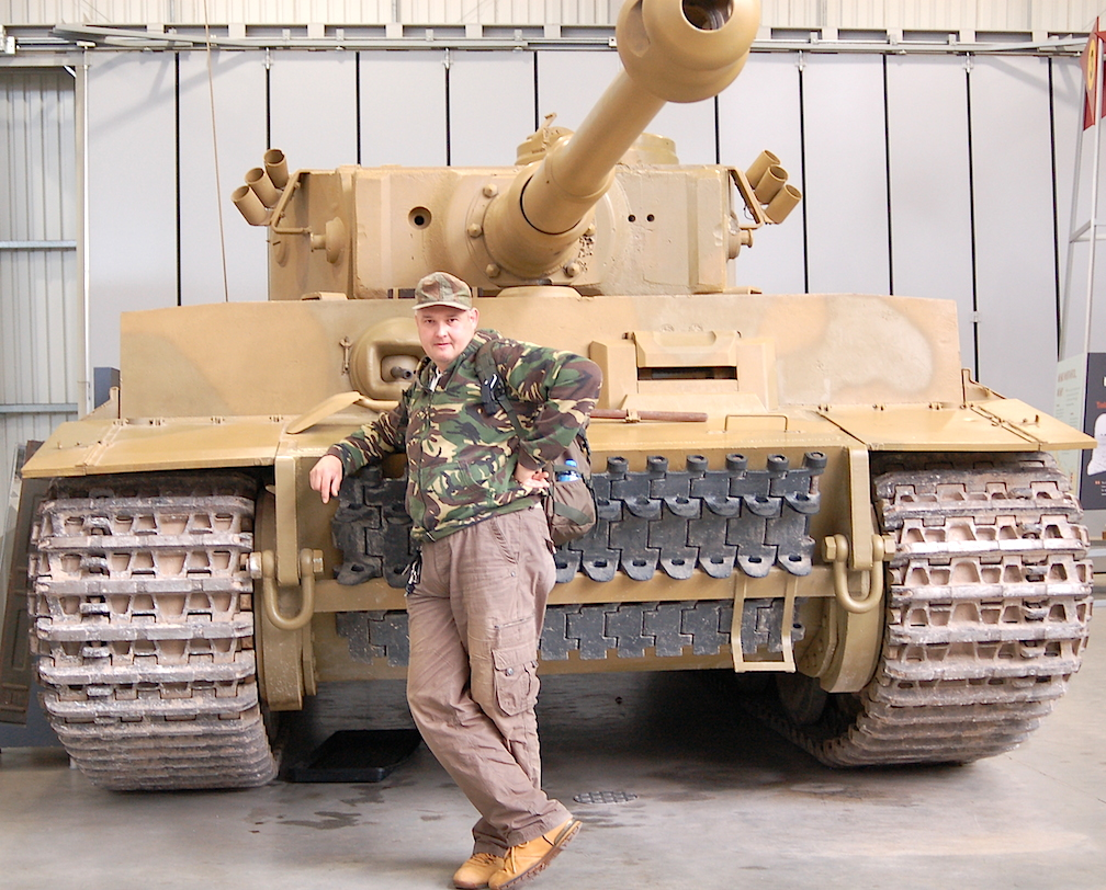 Holy, Tiger Tanks! 1:6 collector and fan, Grzegorz (Greg) Borecki of Poland, poses in front of a stunning Tiger 1 tank currently on display at the NAME HERE museum in the (Photo: Grzegorz Borecki) Click to enlarge.