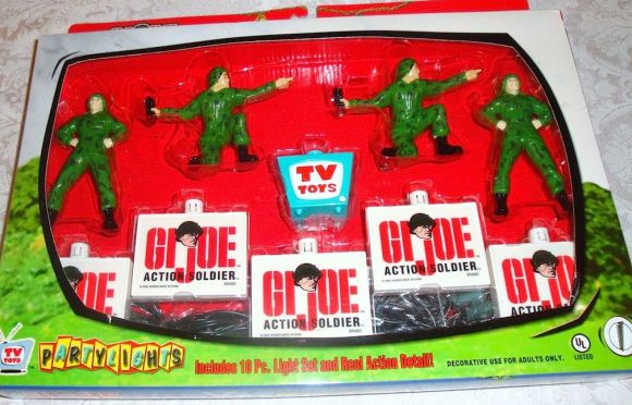 "Show us the Joe-Light! This new set of GIjOE-themed string-lights from ""Partylights"" is officially licensed by Hasbro and includes 4 soldiers, 5 logos, and 1 mini television. OOHrah! (Photo: ebay) Click to enlarge."