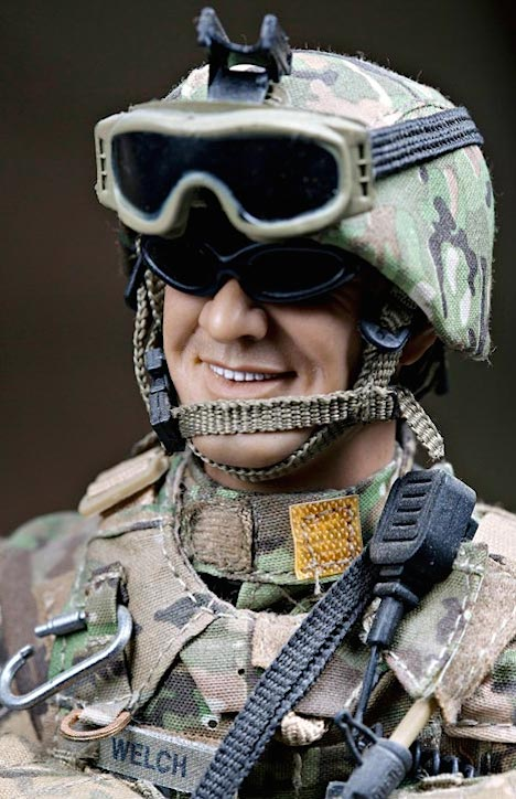 OutSTANDING! This closeup of Bob Welch's superb custom figure of his son, Robert Welch III, reveals the careful selection and matching of appropriate uniform pieces, custom patches and realistic accessories reflecting the actual items worn and utilized by Welch while fighting in Afghanistan. AMAZING! (Photo: