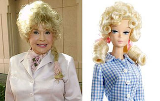 Donna Douglas, later in life,  and the Barbie doll made to represent her famous Elly May character. (Photo: zap2it)