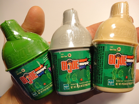 """Mmm, Mmm, NOT Good! One of Hasbro's most lamentable offerings for GIjOE fans and collectors was its """"GIjOE Gum Bitz"""" which was purported to be bubble gum packaged in your choice of green, gray or tan mini-canteens. What was actually inside the clip-on containers remains to  determined by our team of scientists. (Photo: Mark Otnes)"""