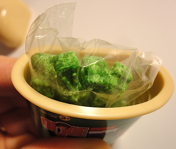How's THAT for unappetizing? Once you pop the top of your canteen, you see THIS bag full of...well, those are supposed to be soldiers. Regardless, first impressions are strong. This doesn't look like something a kid would want to put in his mouth. Sort of reminds us of dehydrated broccoli! (Photo: Mark Otnes)