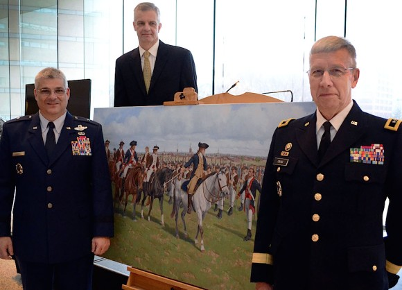 "Brig. Gen. Tony J. Carrelli, Pennsylvania National Guard deputy adjutant general – Air (left), Maj. Gen. Wesley E. Craig, Pa. National Guard adjutant general (right) and artist Larry Selman pose in front of Selman's painting, ""Washington's Review,"" Dec. 6, 2014, at the National Constitution Center, Philadelphia, Pa. The painting was commissioned on behalf of the Pa. National Guard and unveiled during its 267th birthday celebration. (U.S. Air National Guard photo by Master Sgt. Christopher Botzum/Released)"
