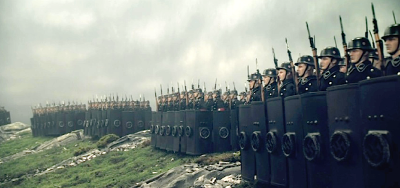 In a nod to ancient Roman formations, multiple racks of German SS troops are set up to begin the assault on Hadrian's wall. The studio built the massive set all indoors. AMAZING! (Photo: Flatiron Film Co.) Click to enlarge.
