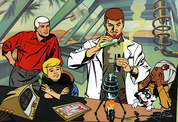 The '60s classic adventure series, Jonny Quest, created a template of science, action and adventure that would apply well to GIjOE and his Adventure Team. Would someone please convince Hasbro to attempt funding such a project? (Art: Steve Rude)