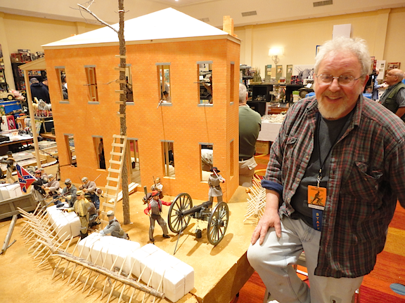 "Master diorama builder Steve Bugg (above) debuted his astonishing 1:6 scale ""Battle of Atlanta"" diorama at Joelanta 2014. (Photo: Mark Otnes)"
