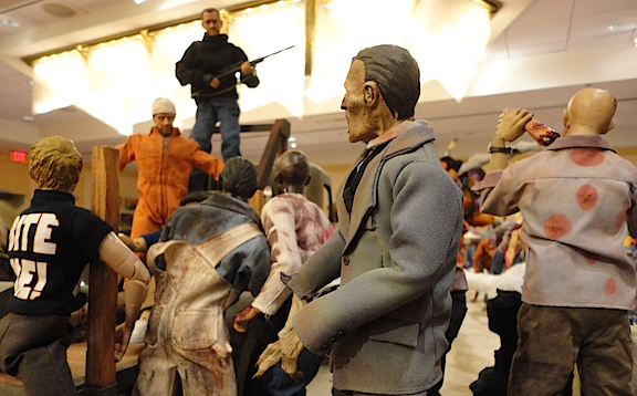It's a Feeding FRENZY! As this closeup of master diorama builder Mike Gardner's tribute to the TV series, The Walking Dead