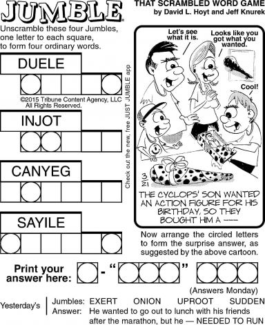 "The daily ""Jumble"" word puzzle created by"