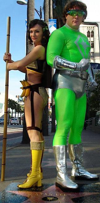 "Votava poses over Stan Lee's Hollywood ""Walk of Fame"" Star with fellow superhero-wannabe, Matt DeMille. (Photo: Matt DeMille)"
