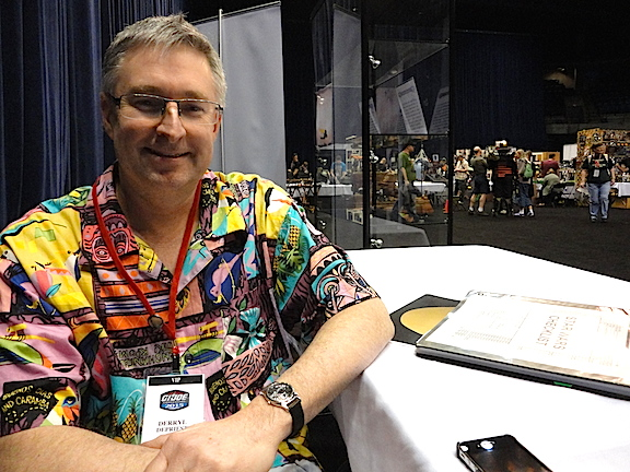 Hasbro Global Brand Manager, Derryl DePriest, in his trademark Hawaiian shirt and neon tennis shoes, during an exclusive interview with The Joe Report at this month's JoeCon 2015 in Springfield, IL. (Photo: Mark Otnes)