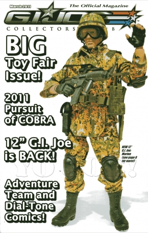 The 2011 line of 12-inch GIjOEs were featured on this issue of the GIjOE Collector's Club newsletter. The pattern in this Marine's camo ACU uniform was one of the few highlights for fans. Did YOU buy this one? (Photo: GIJCC)