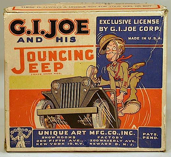 An original Jouncing Jeep box, over 70 years old, has sharp, clear graphics and still makes an AWESOME display. (Photo: Grand Old Toys)