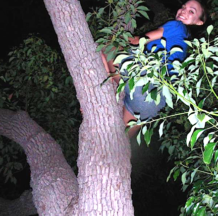 In her free time, the intrepid Votava actually enjoys climbing trees for fun—even at night! (Photo: Mary Votava)