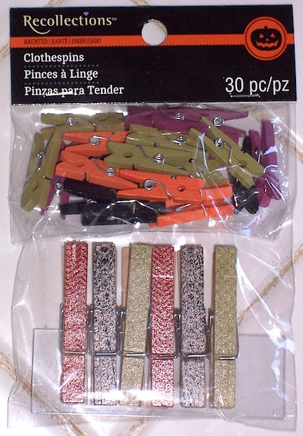 In this closeup of the product recently found in Michael's, you can see that you'll receive 6 full-sized clothespins (give those to your children) as well as