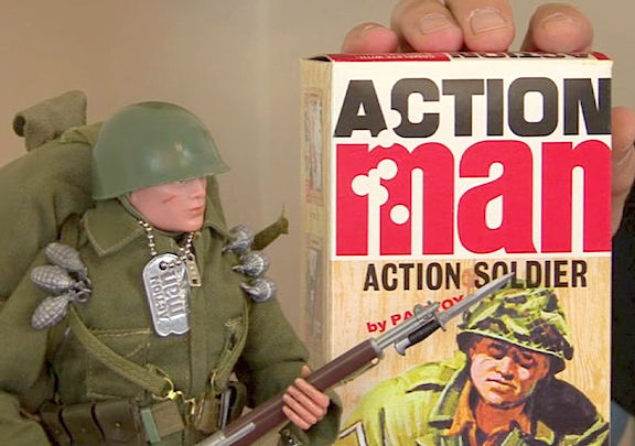 Now THAT'S a box! The dramatic, bullet-ridden Action Man logo was sure to stir the passions of young Brits, eager for some serious play ACTION! (Photo: Tony Roberts)