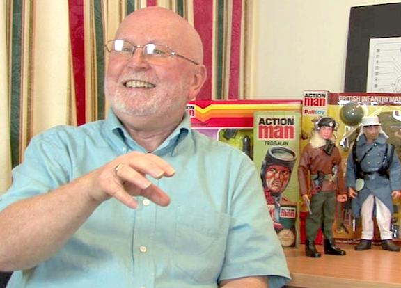 In this scene from Robert's DVD, Bob Belchin reminisces about the early days of Action Man production at Palitoy. (Photo: Tony Roberts)