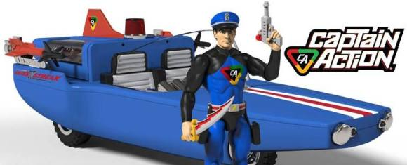 Prototype photo of a proposed 1:18 scale version of Captain Action and his Silver Streak. Is THIS the future of CA? (Photo: CAE)