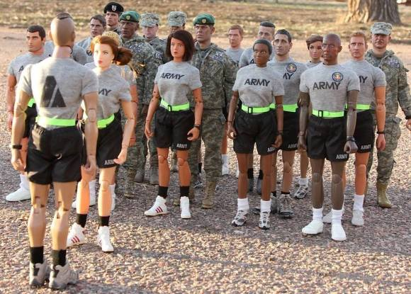 Fall in! Eyes Front! Benson's squad prepares for a rigorous session of PT with a mohawked paratrooper drill sergeant. Notice the diversity of characters and attention to detail. Out-STANDING! (Photo: Steve Benson) Click to enlarge.