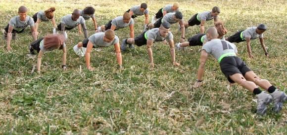 All the way up, and all the way down! There's no substitute for proper form when doing pushups the ARMY way! (Photo: Steve Benson) Click to enlarge.