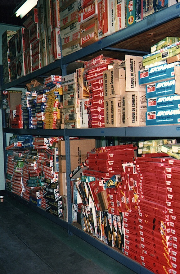 Floor to ceiling shelves filled this warehouse in Pawtucket, RI, with the entire history of GIjOE. Sadly, anything placed on the lower levels was likely destroyed during a major flood. What happened to the remaining vintage, NMIB sets remains to be fully determined. (Photo: Wayne Faucher) Click to enlarge.