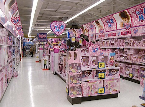 How insulting! Toys 'R Us dared to go all pink in this aisle of toys, a move that apparently offends...someone. (Photo: Brent Cross)