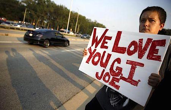 A supporter of Fox Lake Police Lieutenant Charles Joseph Gliniewicz who was also known as