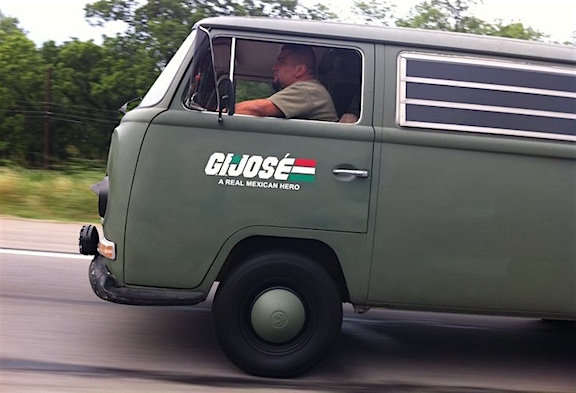 An unknown driver in his customized G.I. Jose van. (Photo: The Huffington Post)