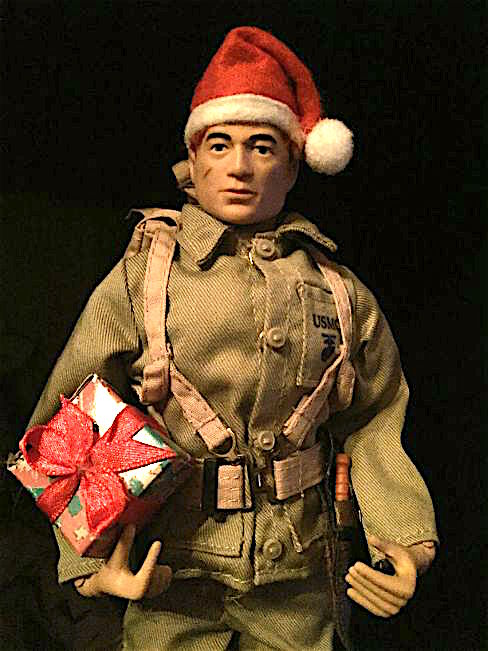 A Perfect Fit— You couldn't ask for a better Santa hat for GIjOE. And this beauty only costs $1 at your neighborhood Dollar Store. Happy Holidays! (Photo: Mark Jones)