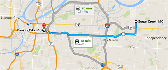 Sugar Creek and the Lanard Toy Store are only an 18 minute drive from Kansas City, MO. (Graphic: Google Maps)